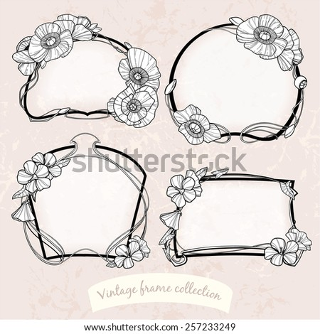 Beautiful vintage frame collection with poppies and other flowers. Can be used as greeting, postal, invitation, wedding, birthday, valentines card and other design - stock vector
