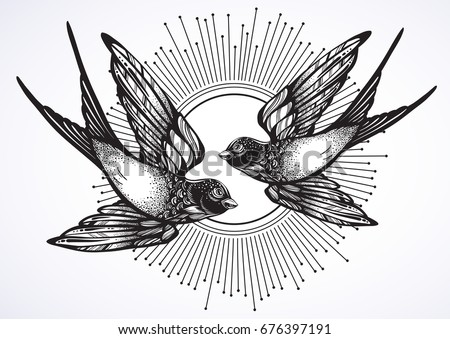Beautiful vintage retro style illustration of two flying swallow birds hand drawn vector artwork isolated