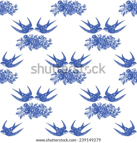 Beautiful vintage seamless floral pattern background. Birds with bouquets of roses, swallows - stock vector