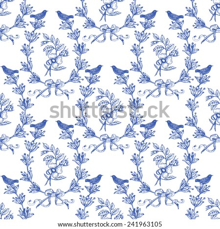 Beautiful vintage seamless floral pattern background. Birds, wreath with olives and classical roses - stock vector