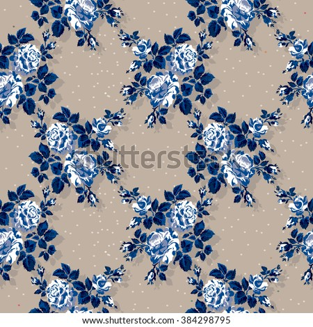 Beautiful vintage seamless floral pattern background. Flower bouquets of roses.  - stock vector