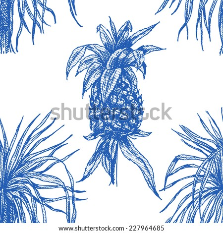 Beautiful vintage seamless floral pattern background. Palm trees and pineapple - stock vector