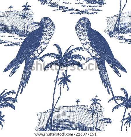 Beautiful vintage seamless floral pattern background. Parrots and palm trees on white background - stock vector