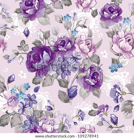 Beautiful vintage seamless pattern for retro wallpapers. Abstract background with flowers. Fashion vector illustration texture. - stock vector