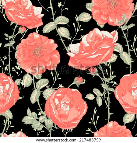 Beautiful Vintage Seamless Roses on Black  Background.  Red Roses romantic flowers pattern  - stock vector
