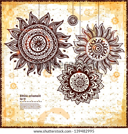Beautiful vintage sun ornament can be used as a greeting card - stock vector