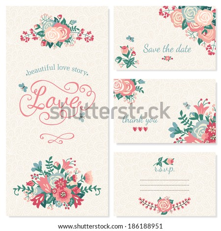 Beautiful vintage wedding set. Wedding invitation, thank you card, save the date cards. RSVP card. - stock vector