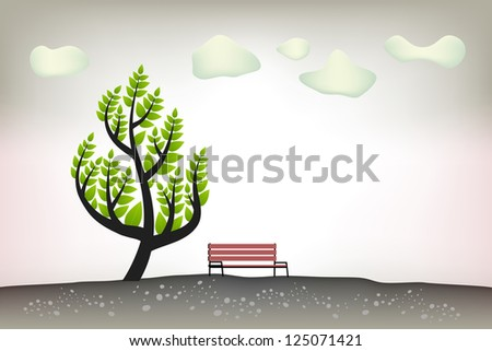 Beautiful warm, summer landscape scenery with stylized tree symbol and a red bench, clouds.