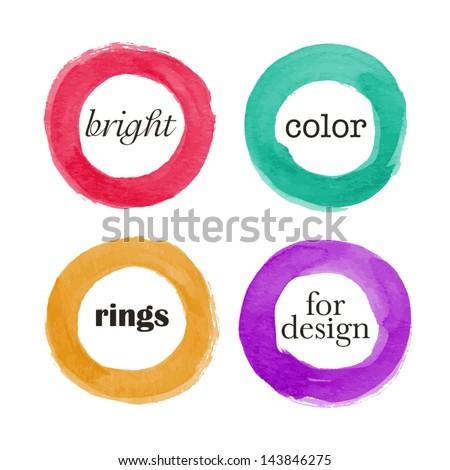 Beautiful watercolor design elements. Vector illustration - stock vector
