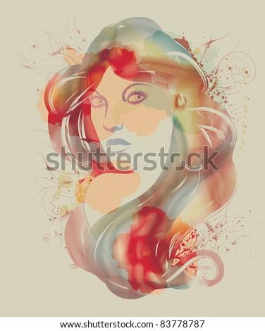 Beautiful watercolor fashion sketch of woman - stock vector