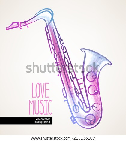 beautiful watercolor hand drawn saxophone on a beige background - stock vector