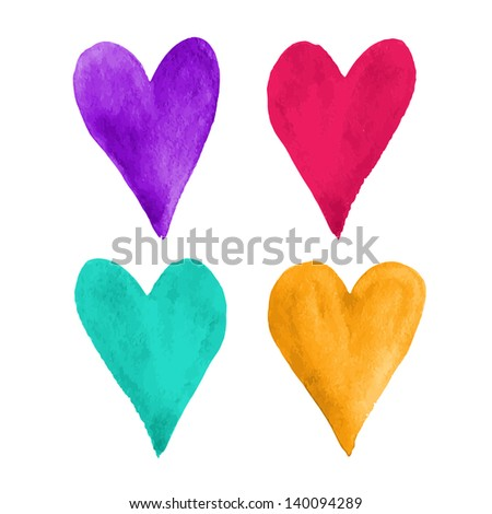 Beautiful watercolor hearts. Vector illustration - stock vector