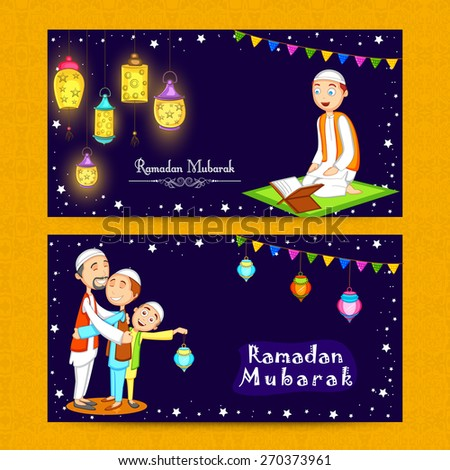 Beautiful website header or banner set decorated with Arabic lamps and Muslim people enjoying and celebrating on occasion of Ramadan Kareem. - stock vector