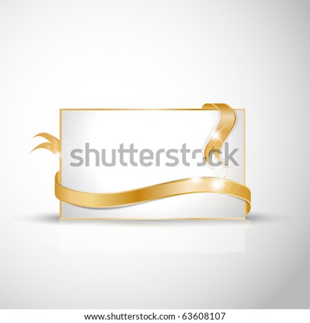 Beautiful wedding card - Golden ribbon around blank white paper, where you should write your text - stock vector