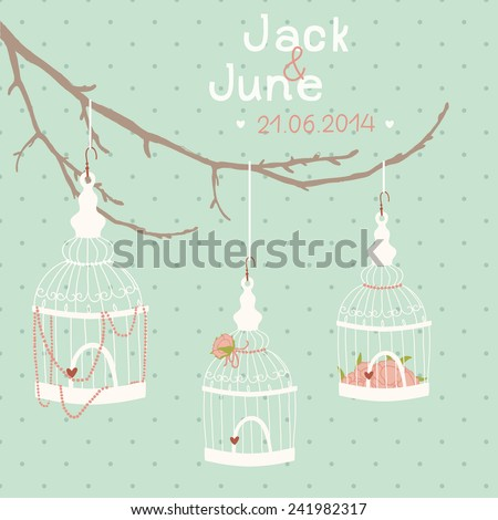 Beautiful wedding card bird cage on stock vector 241982317 beautiful wedding card with a bird cage on a branch wedding decor birdcage junglespirit Image collections