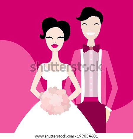 Beautiful wedding couple. Vector illustration - stock vector