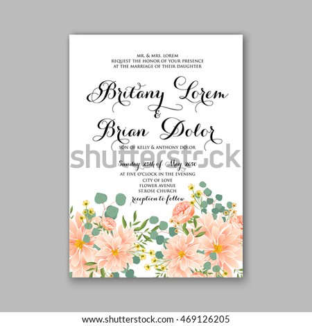 Wedding invitation card tropical floral background stock vector beautiful wedding floral vector invitation sample card design frame template rose daisy stopboris Image collections