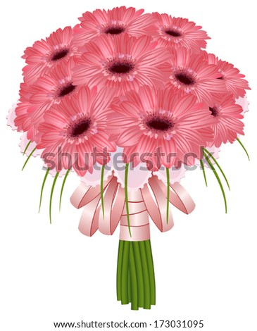 beautiful wedding gerbera flowers isolated on white  - stock vector