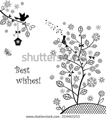 Beautiful wedding greeting with blossoming spring tree - stock vector