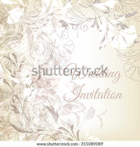 Beautiful wedding invitation card in grey and white colors with swirls - stock vector
