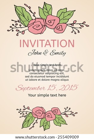 Beautiful wedding invitation card with stylized rose