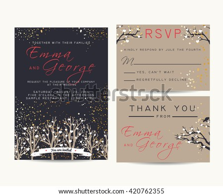 beautiful wedding invitation set with trees and branches, decorated with confetti and hearts