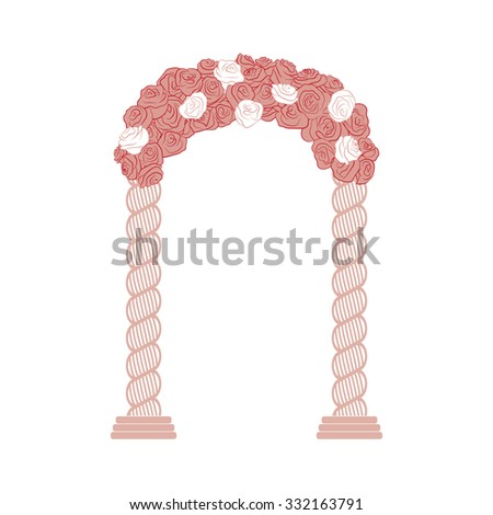 Beautiful wedding romantic arc door of gentle curl pink and white roses. Element for your wedding designs, wedding business projects, logo, and other your projects - stock vector