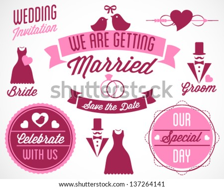 Beautiful Wedding Vector Badges and Labels in Vintage Style - stock vector