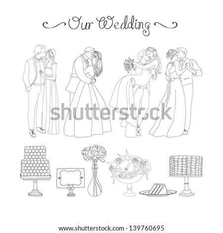 Beautiful wedding vector set - stock vector