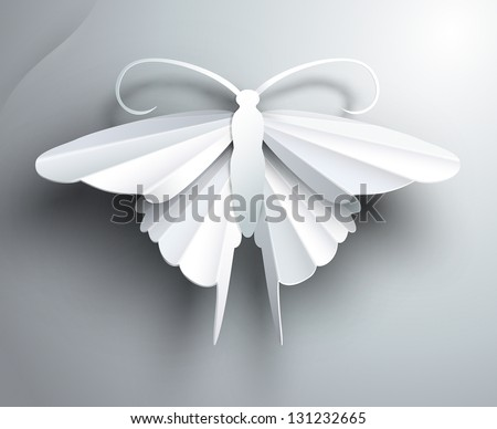 Beautiful white3D paper butterfly. - stock vector