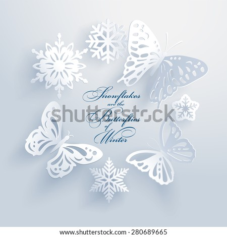 Beautiful white paper cut butterflies and snowflakes create a three-dimensional elegant xmas design element with long shadows. Seasons greetings concept. Vector illustration and photo image available. - stock vector