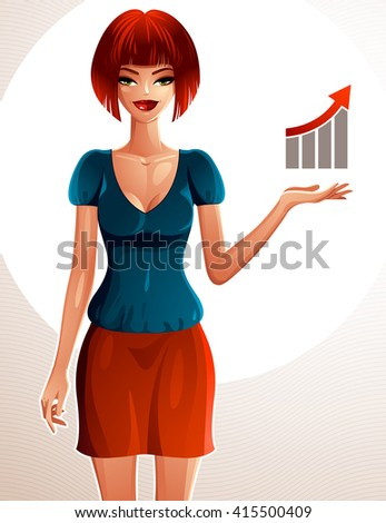 Beautiful white-skin woman, full-length portrait. Colorful drawing of cute slender red-haired girl showing something to side with her hand. Financial graph with growth arrow. - stock vector