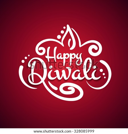 Beautiful white text calligraphy inscription Happy Diwali festival India on a red background. Vector illustration EPS 10 - stock vector