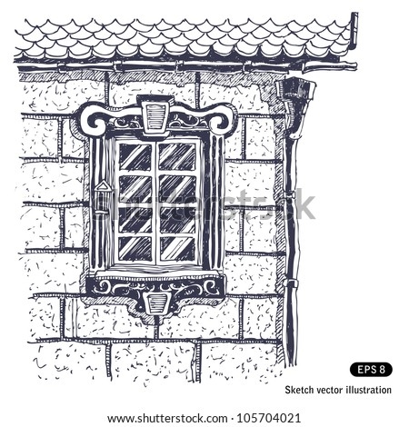 Beautiful window on the brick wall near edge of house. Hand drawn sketch illustration isolated on white background - stock vector