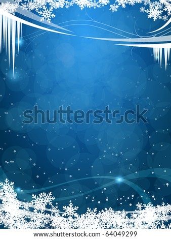 beautiful winter frosty background in vector - stock vector