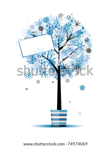 Beautiful winter tree in pot for your design - stock vector