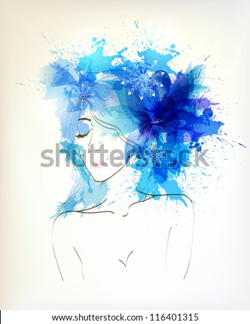 Beautiful winter women with abstract flower and blue blots. Vector design - stock vector