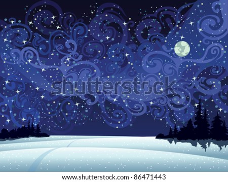 Beautiful wintry landscape with night sky, snow-covered nature and light moon