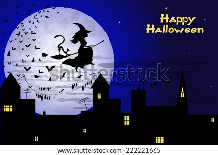 beautiful witch and bats flying over night old town on big moon background - stock vector
