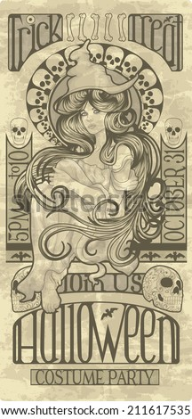 Beautiful witch design in an art nouveau style for Halloween - stock vector