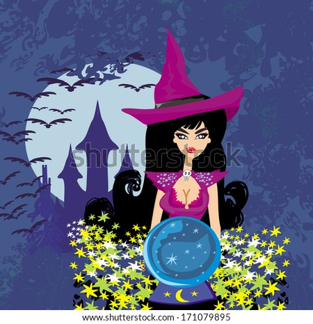 beautiful witch with crystal ball. - stock vector