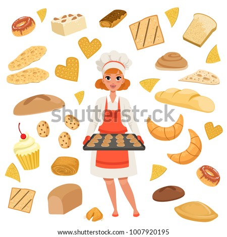 Beautiful woman baker standing with a baking tray with cookies. Cartoon female character at work. Bakery products and pastries set isolated on white. Flat vector