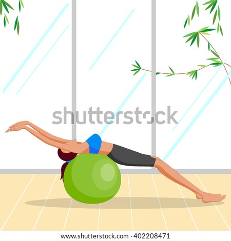 Beautiful woman doing Pilates Exercise with ball . Vector illustration - stock vector