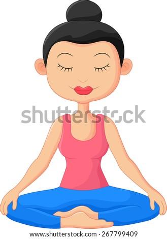 Beautiful woman doing Yoga Meditation - stock vector