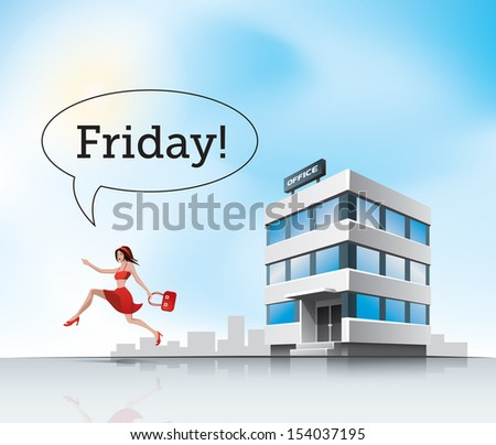 Beautiful woman employee in red dress running from office on friday - stock vector
