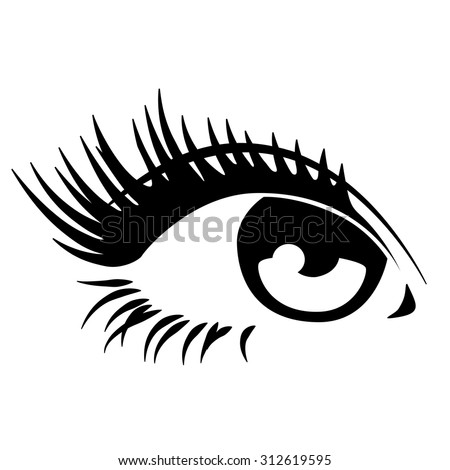 Beautiful woman eye. Vector illustration. Ink drawing. - stock vector