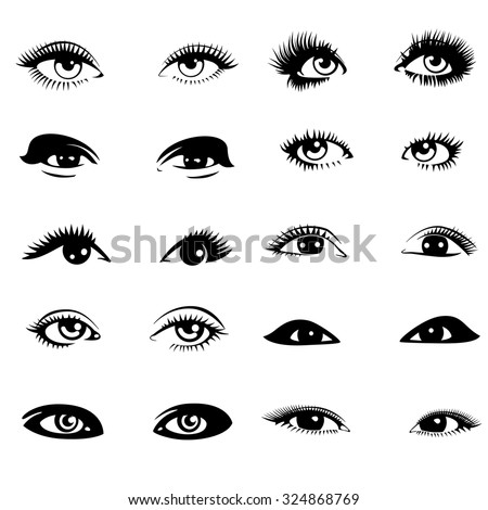 Beautiful woman eyes. Vector illustration. Ink drawing. Black and white. Set. - stock vector