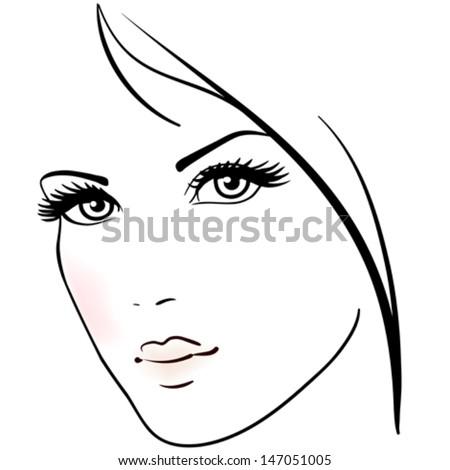 Beautiful woman face  - stock vector