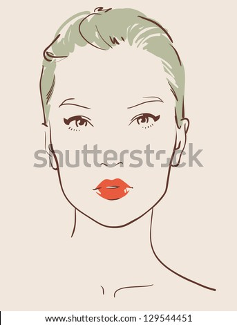 beautiful woman face hand drawn vector illustration eps 10 - stock vector