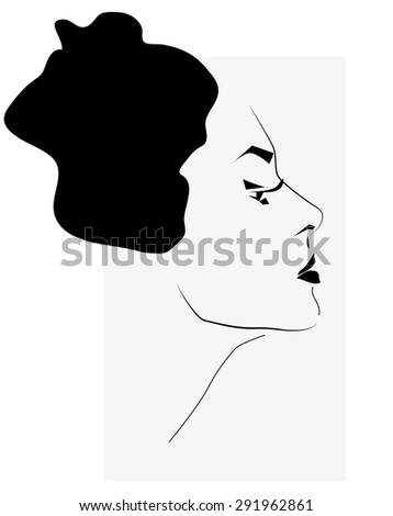 Beautiful Woman Face Illustration. Portrait in Black and White